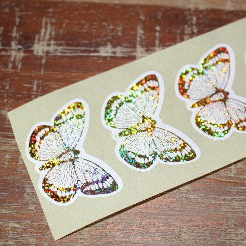 10 Sticker Schmetterling gold