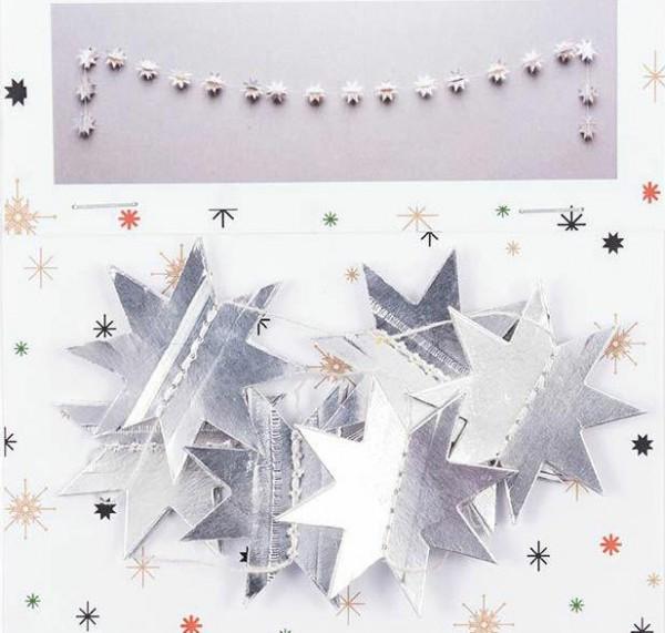 Papiergirlande Sterne silber