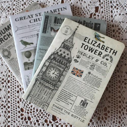 Notizheft vintage blanko ELIZABETH TOWER London