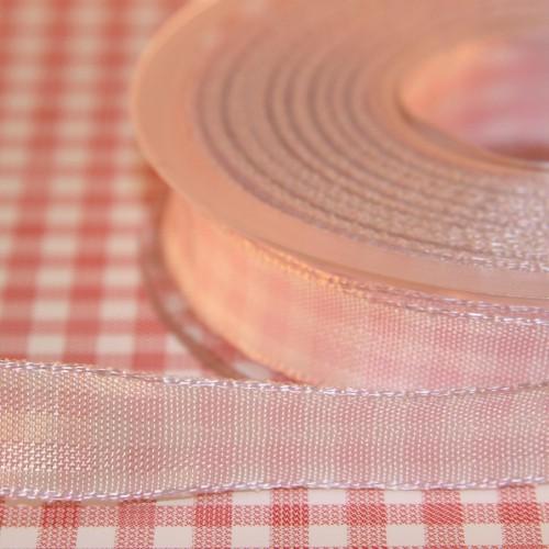 Schleifenband Bauernkaro rosa / weiss kariert 14 mm Landhaus
