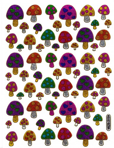 Sticker herzige Pilze Aufkleber glitzernd bunt