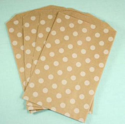 4 Stk. Kraft Papierbeutel gepunktet