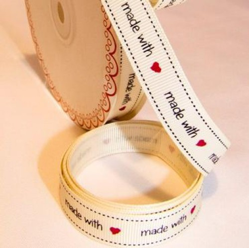 """made with love"" Rolle 3 Meter Ripsband"
