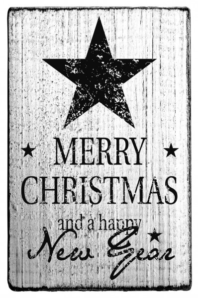 Stempel MERRY CHRISTMAS vintage Look 7 x 4 cm