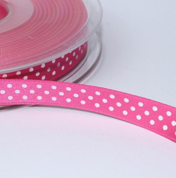 Satinband FUCHSIA pink Minidots10mm