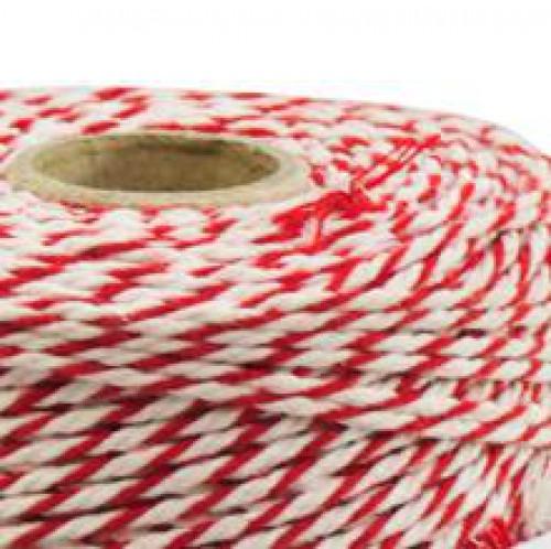 Rolle dünnes Baumwollgarn rot / weiß 2fädig