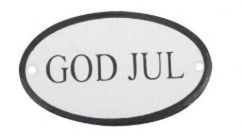 """kleines Metallschild """"God Jul"""" oval schwarz"""