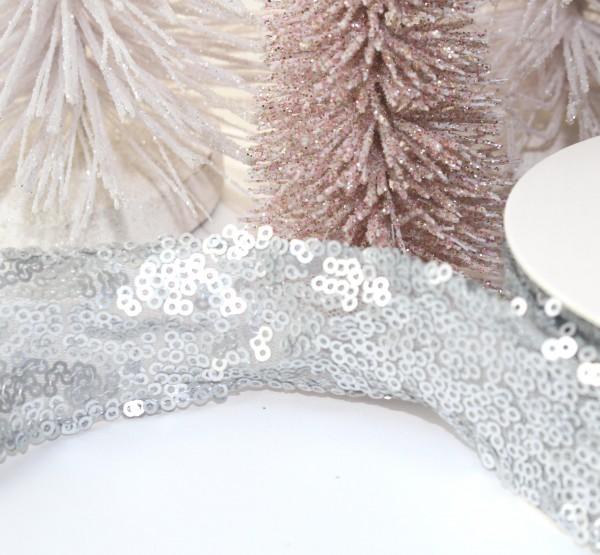 Paillettenband 38mm glamour silber