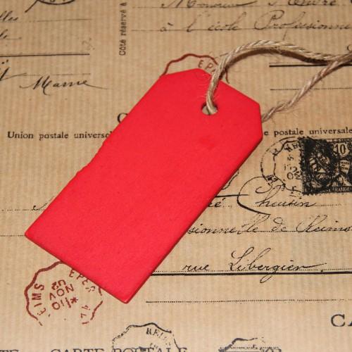 4 rote Paketanhänger aus Holz groß