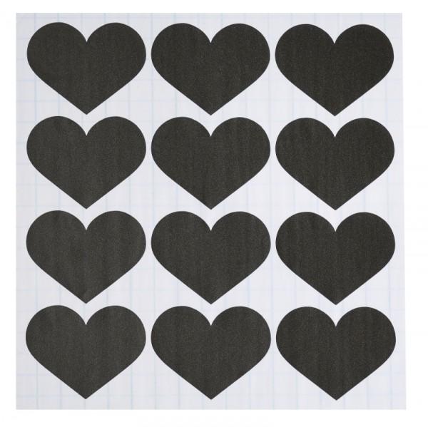 36 Sticker HERZ Label Tafelfolie schwarz