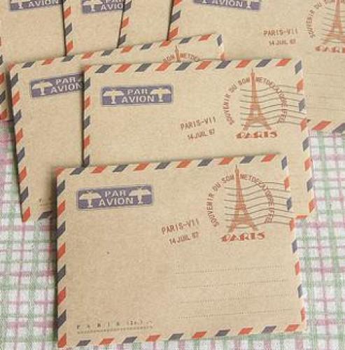 5 Stk kleine Kraftpapier Briefumschläge Paris Eiffelturm