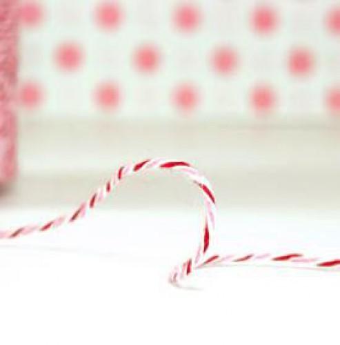 Divine Twine Garn Peppermint rosa / rot / weiß 4-fädig / pro Meter