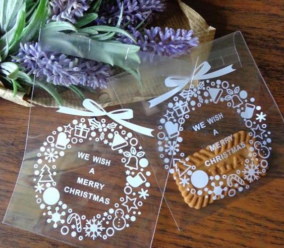 10 Cellophantüten MERRY CHRISTMAS Kranz für Kekse Gebäck
