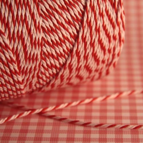 Baumwollgarn rot / weiß Metzgergarn 3fädig