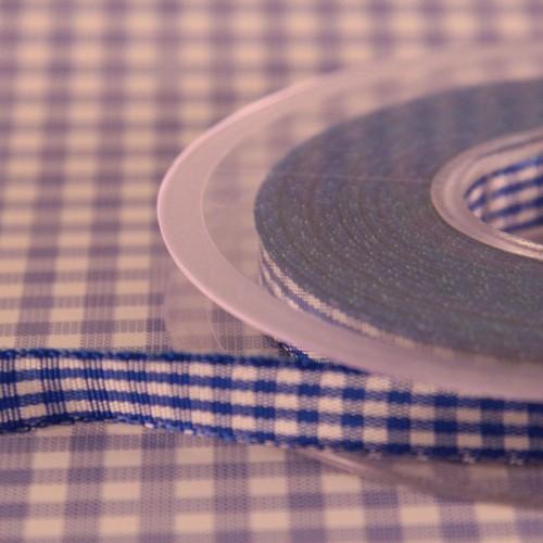 Schleifenband Bauernkaro blau / weiss kariert 10mm Landhaus