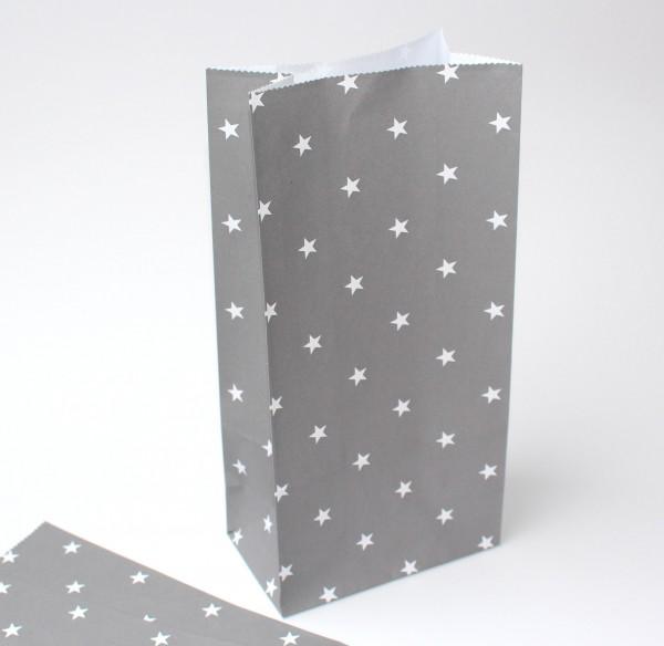 5 Stk Papiertüten grau weisse Sternchen