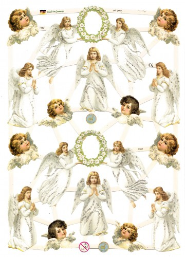Glanzbilder weisse Engel betend glitzernd