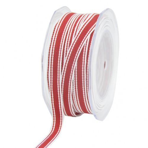 Dekoband rot / weiß Block Streifen