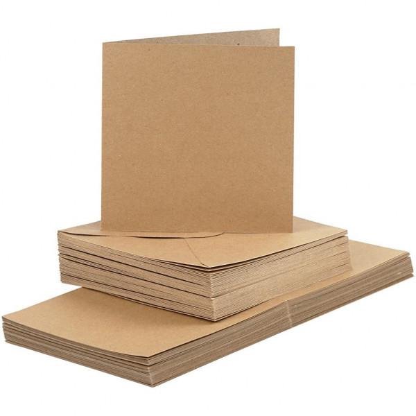 50 Stk. Kraftpapier Karten quadr. 15 x 15 cm inkl. Umschläge