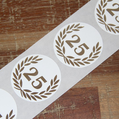10 Sticker Jubiläum 25 silber 50mm