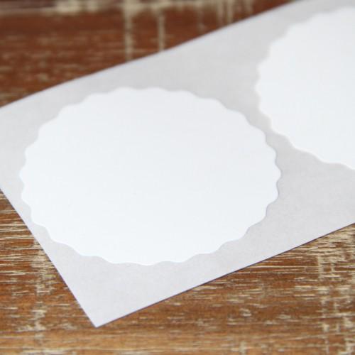 10 runde Sticker weiss Wellenkante 49mm