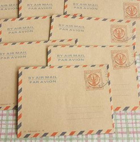 10 kleine Kraftpapier Briefumschläge mit Stempel Italien