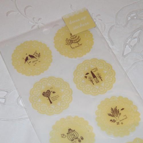 10 Sticker Doilies gelb