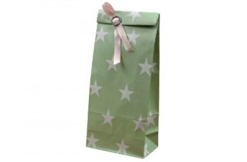 5 Stk. Papierbeutel grün mit weissen Sternen