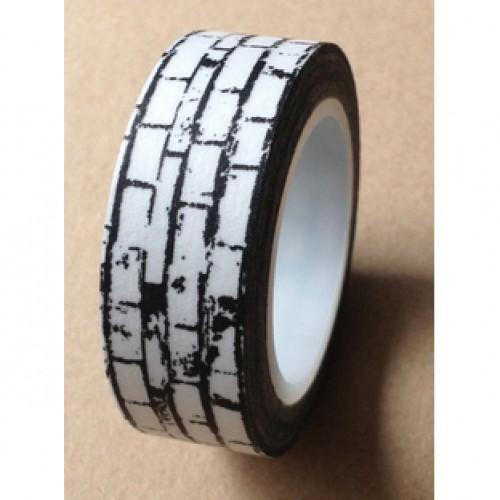 Masking Washi Tape Brick Steinmauer schwarz weiss gemustert
