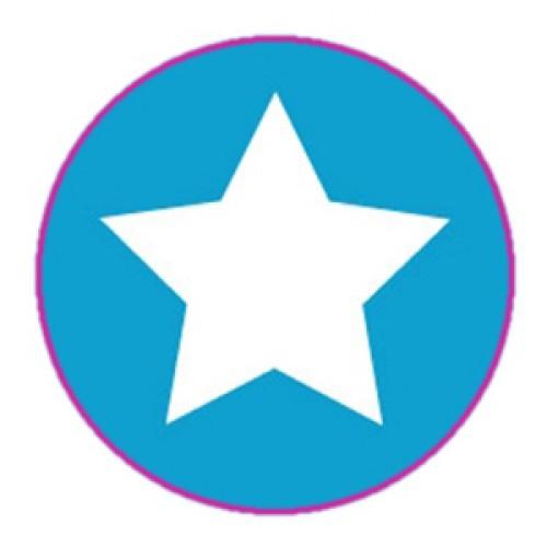 10 Stern Sticker Etiketten türkis weiss