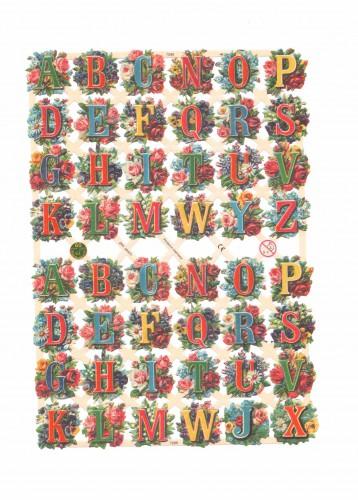 """Glanzbilder Bogen """"Buchstaben & Blumen"""" Oblaten"""