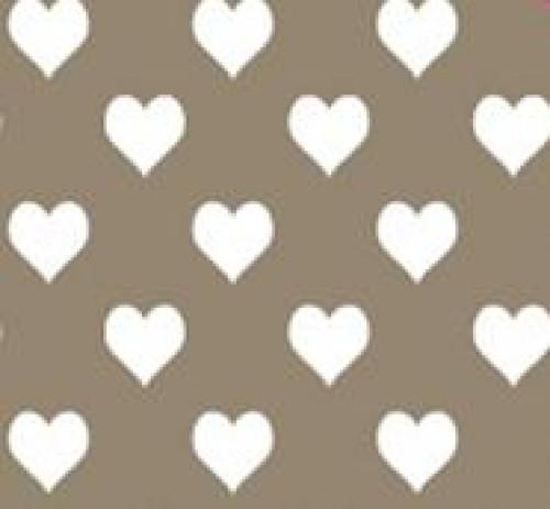 20 Bögen Seidenpapier taupe mit weissen Herzen