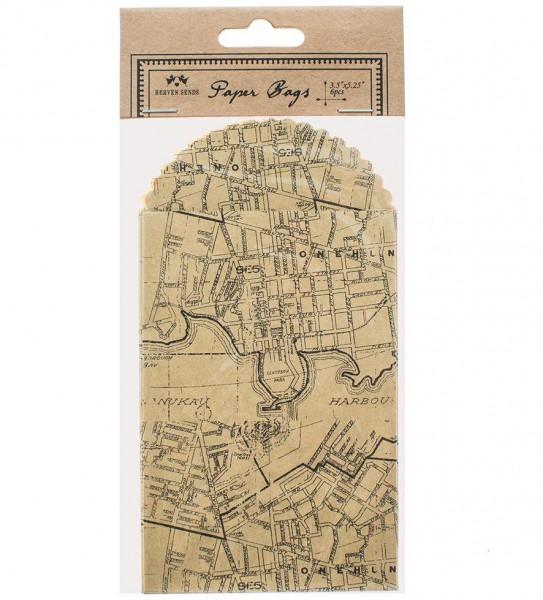 6 kleine Papiertüten vintage Print Map