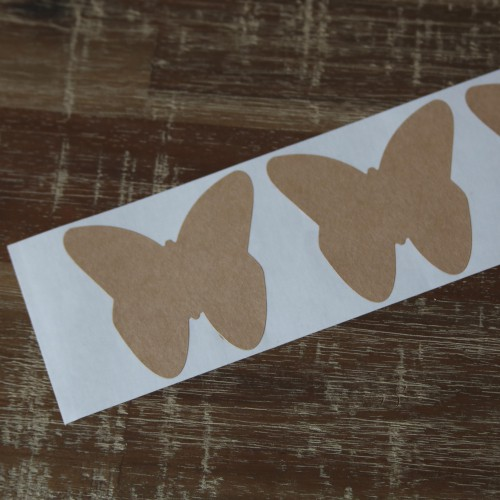 6 Sticker Label Butterfly Kraft 59 x 53 mm