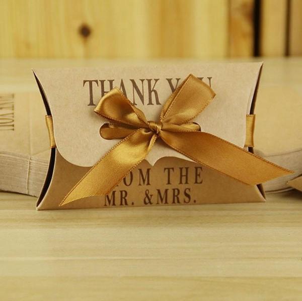 5 Pillowboxen Faltschachteln Kraft Thank You Hochzeit
