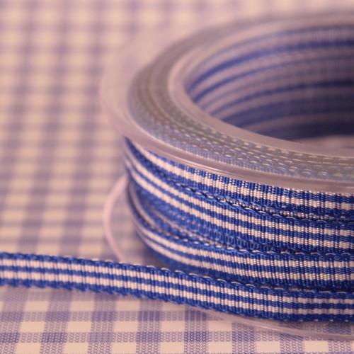 Schleifenband Vichykaro blau / weiss kariert 6mm
