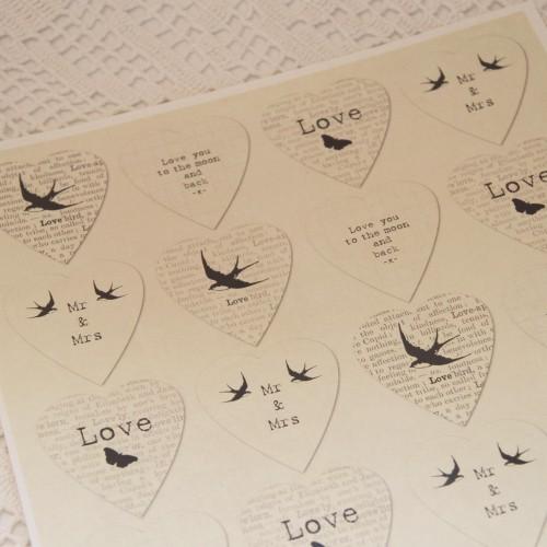 Stickerbogen vintage Aufkleber Hochzeit Love