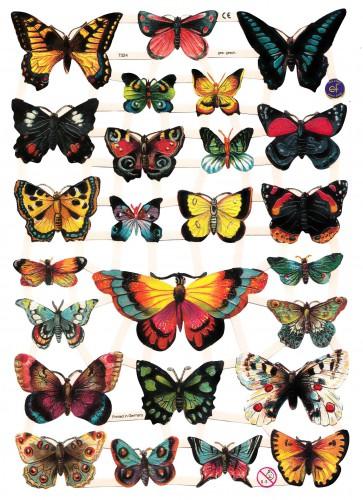 "Glanzbilder ""Schmetterlinge 2"" Bogen Oblaten"