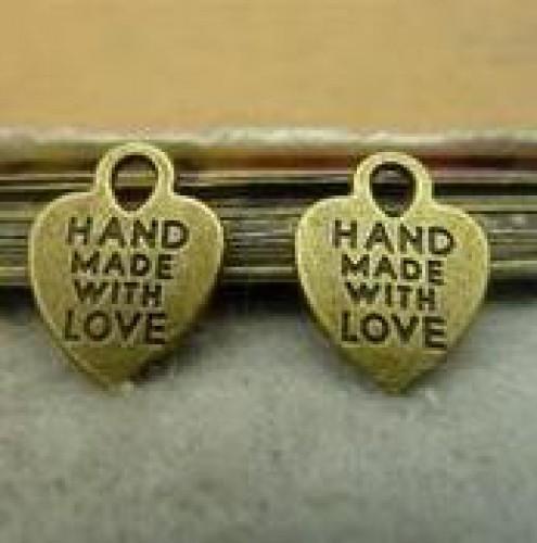 10 kl. Anhänger Herz HANDMADE WITH LOVE bronze