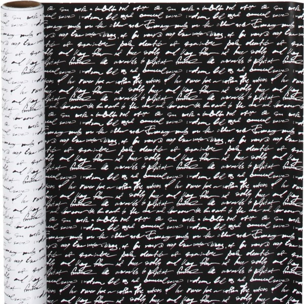 Geschenkpapier Script schwarz weiss 5 Meter B50cm