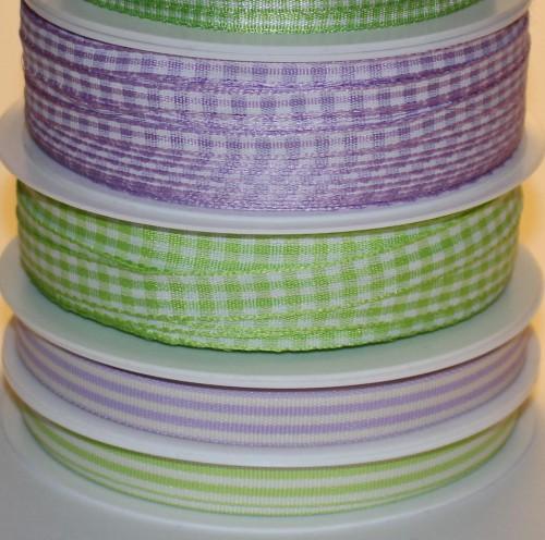 Schleifenband Stripe apfel-grün / weiss gestreift 10mm