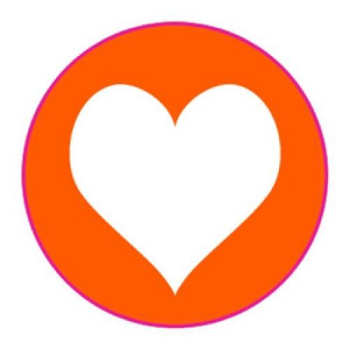 10 Herz Sticker Etiketten orange weiss