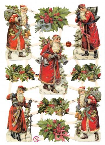 Glanzbilder Weihnachtsmann Ilex glitzernd