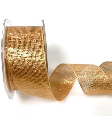 Glitzerband rosé gold 38mm Drahtkante