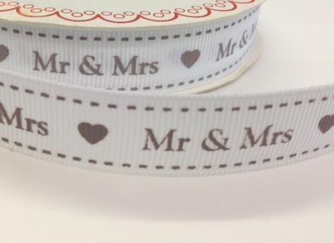 Band MR & MRS weiss 16mm Rips