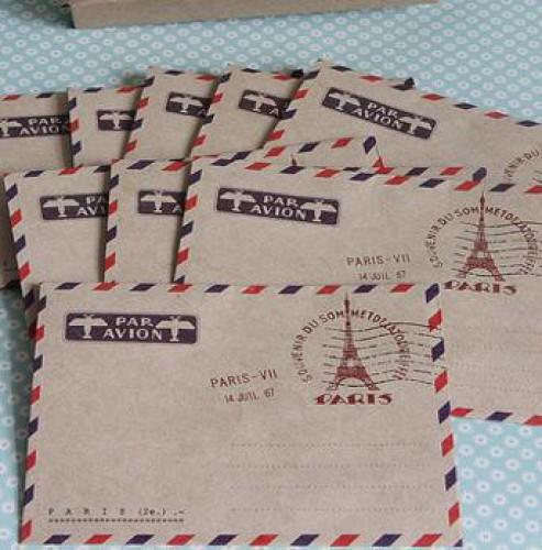 10 kleine Kraftpapier Briefumschläge Paris Eiffelturm