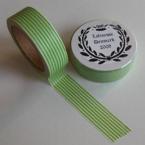 Washi Masking Tape hellgrün weiss Stripes