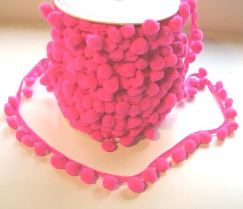 Band Pompom NEON PINK D12mm Meterware