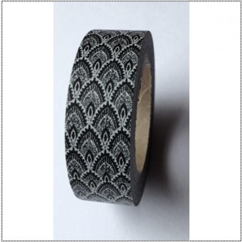 masking tape washi floral peacock schwarz weiss 15mmx10m achwieschoen. Black Bedroom Furniture Sets. Home Design Ideas