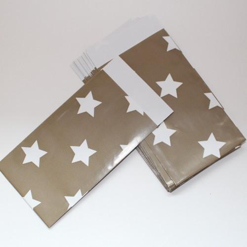 10 Papiertüten Stern taupe klein